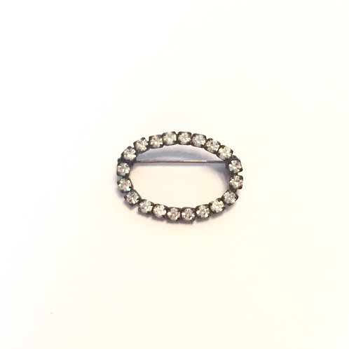 Vintage Rhinestone Oval Stock Pin