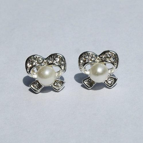 Allison Rhinestone Pearl Bow Earrings