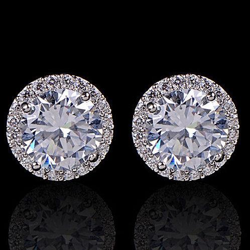 Georgina Embezzled Platinum Plated Rhinestone Solitaire Stud Earrings