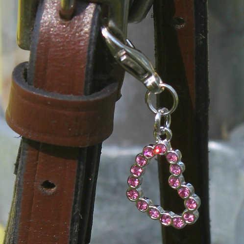 Tickled Pink Heart Bridle Charm