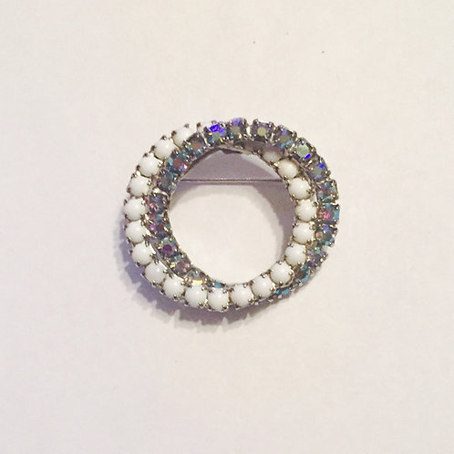 Vintage Double Circle Blue and White Rhinestone Stock Pin