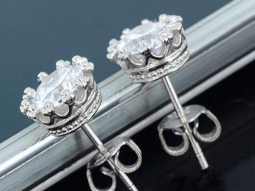 Barn Queen Crown Silver Plated Rhinestone Solitaire Earrings