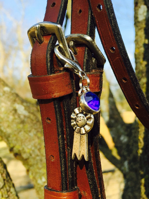 Horse Show Ribbon With Solitaire Bridle Charm