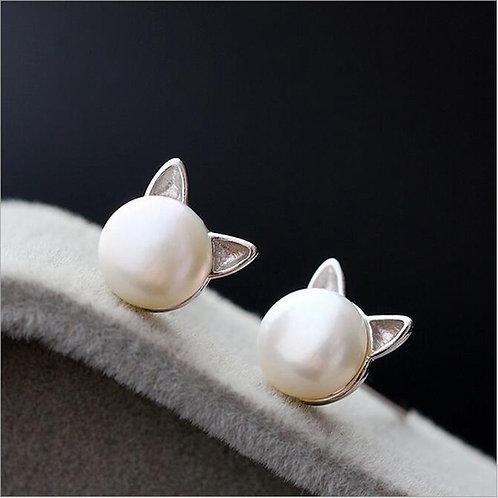 Cat Ears Pearl Stud Earrings