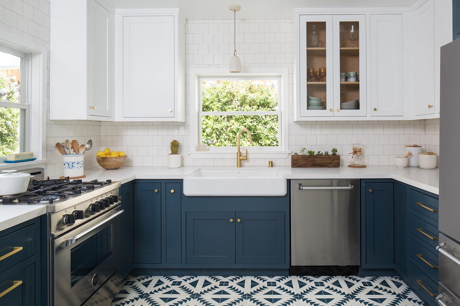 Blue White Modern Transitional Kitchen Design Los Angeles
