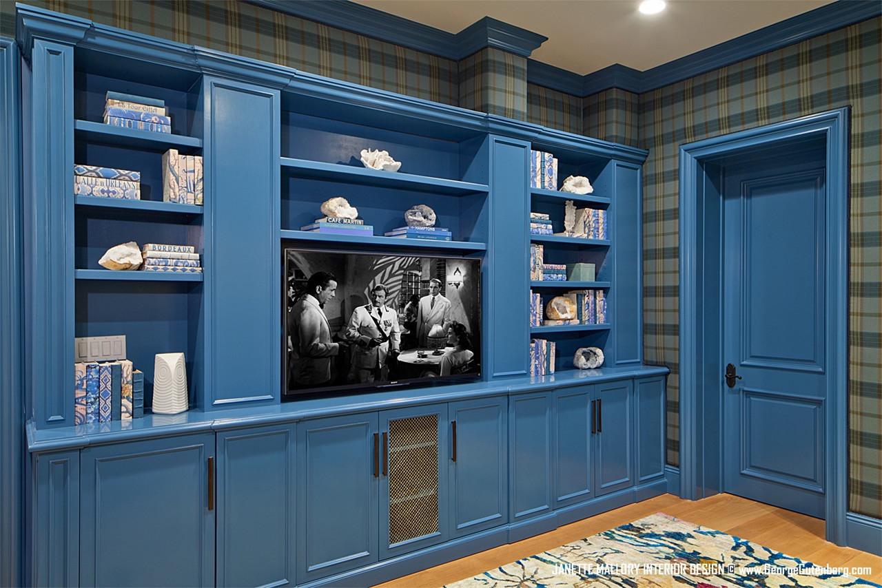 Blue Bookcase Malibu Interior Design