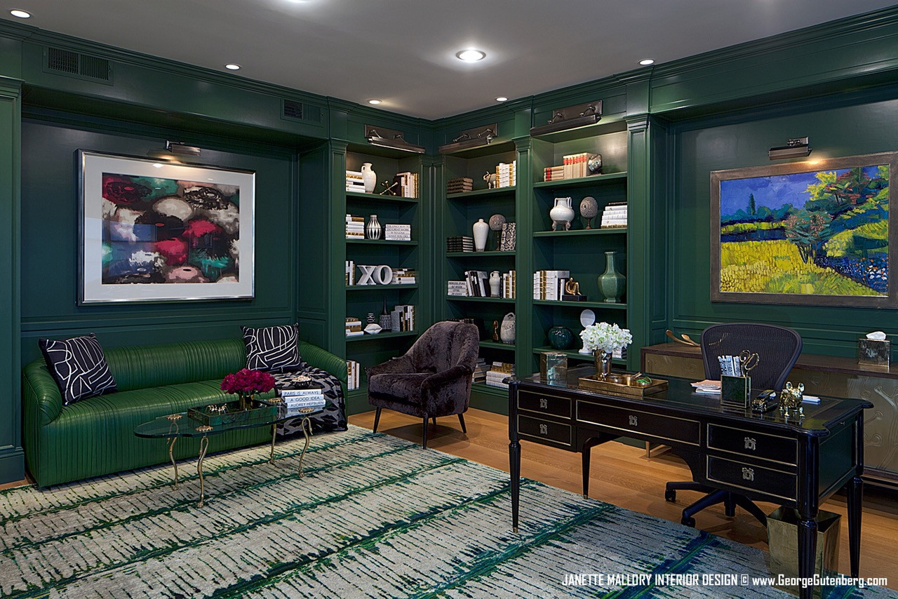 Green Custom Lacquered Office Malibu, CA