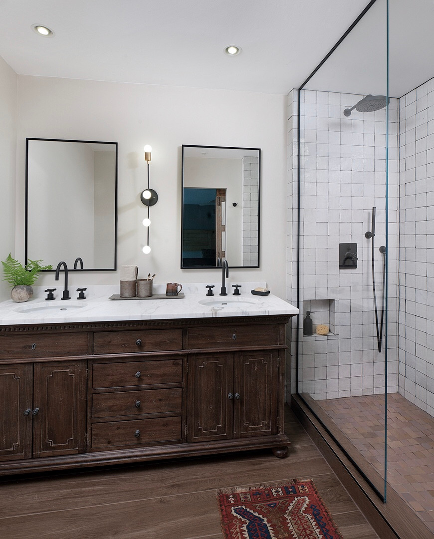 Rustic Modern Farmhouse Master Bathroom in Pittsburgh by Kelly Martin Interiors. Featuring Cle Tile, Restoration Hardware, & California Faucets