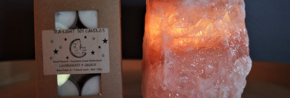 Himalayan Salt Tealight Holder +Scented Soy Tealight pack