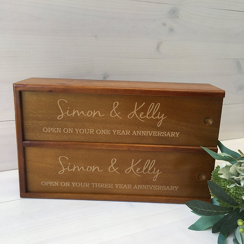 Custom Double Wine Box - stained