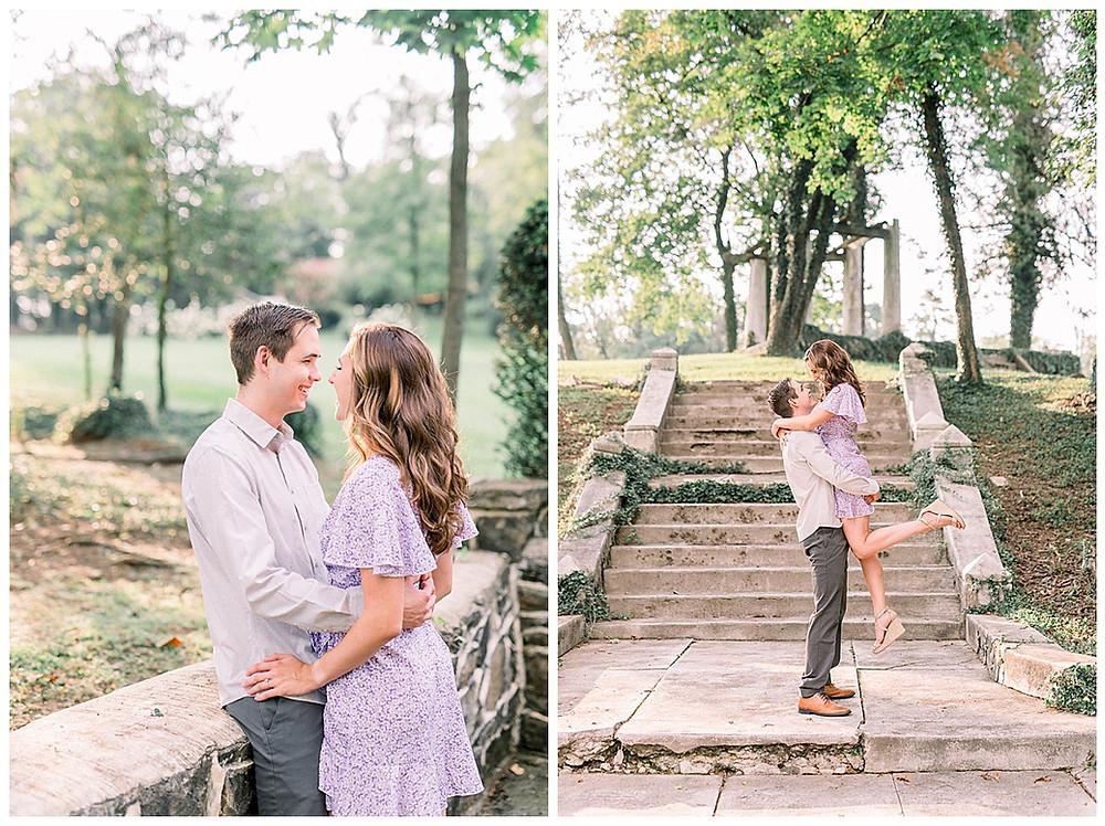 An engaged couple posing at Historic Shady Lane