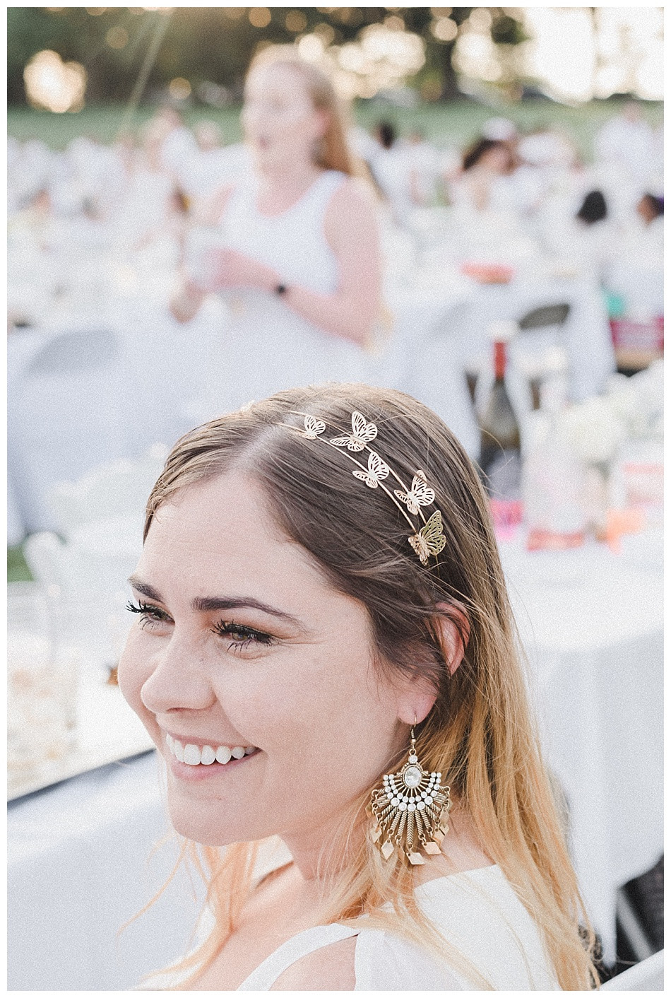 Golden Butterfly Headband, white, Fete en Blanc (Party in White) Lancaster 2019 at Longs Park by Angela Weiler Photography - Fine Art Wedding Photographer.