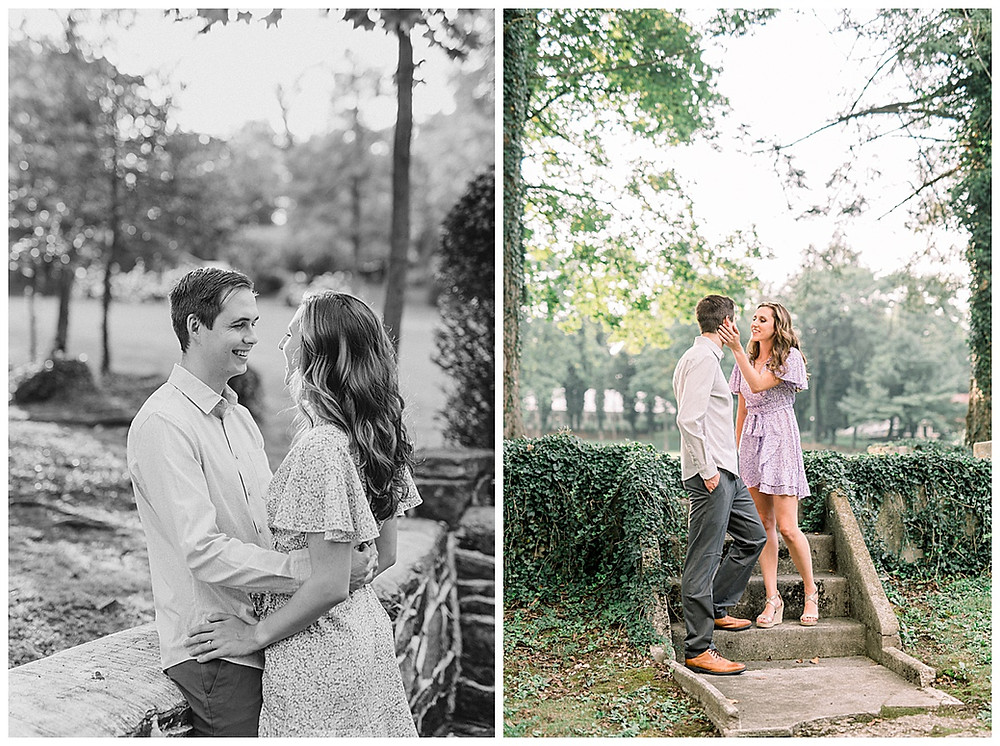 A happy engaged couple posing at Historic Shady Lane