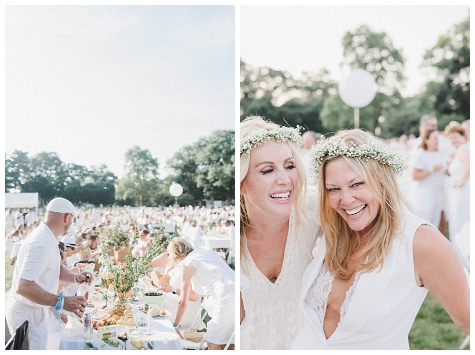 Flower Crown, women laughing, white dresses, large white balloons. Streamers released, portrait of young woman, large white balloons, red lipstick, flowers in her hair, white dress.  Fete en Blanc (Party in White) Lancaster 2019 at Longs Park by Angela Weiler Photography - Fine Art Wedding and Lifestyle Photographer in Lancaster Pennsylvania.