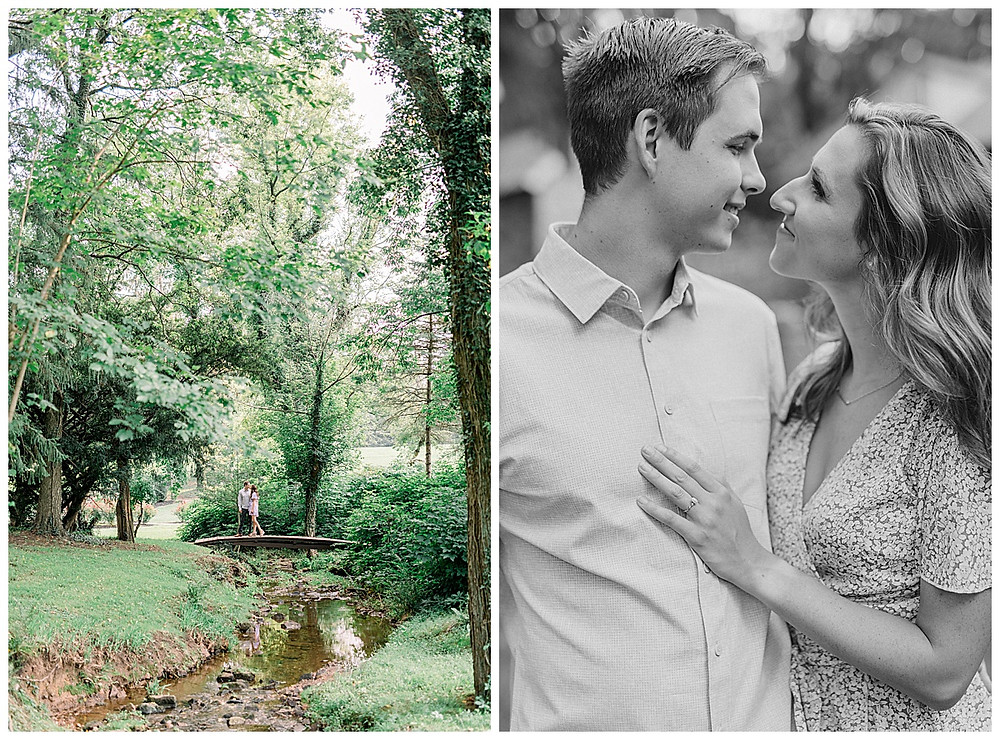 A happy engaged couple posing at Historic Shady Lane in late summer