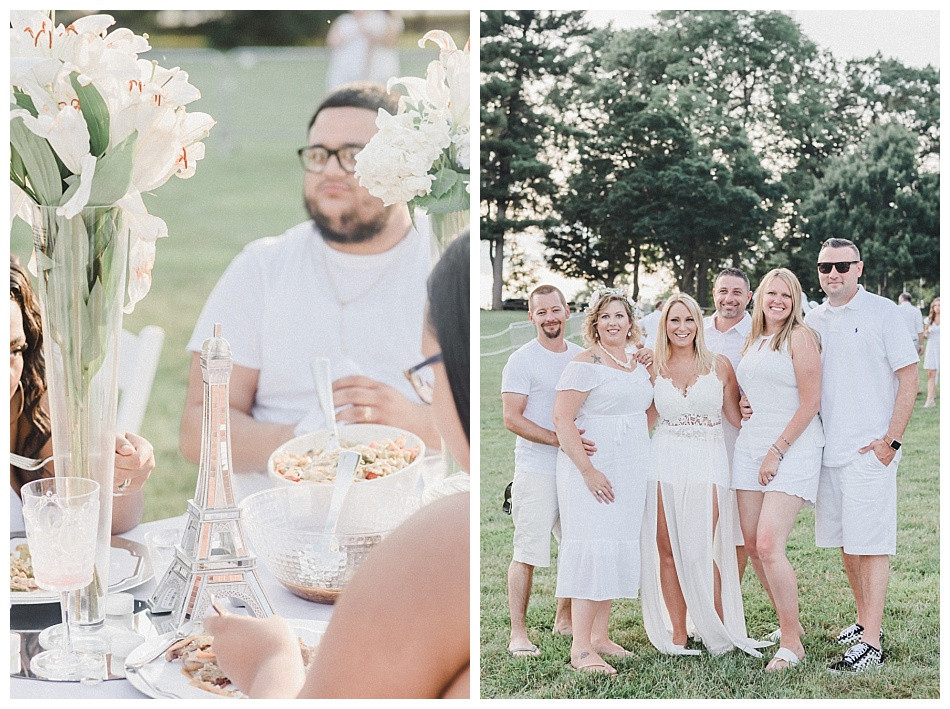 White Tablescape, Eiffel Tower, macaroni salad. Streamers released, portrait of young woman, large white balloons, red lipstick, flowers in her hair, white dress.  Fete en Blanc (Party in White) Lancaster 2019 at Longs Park by Angela Weiler Photography - Fine Art Wedding and Lifestyle Photographer in Lancaster Pennsylvania.