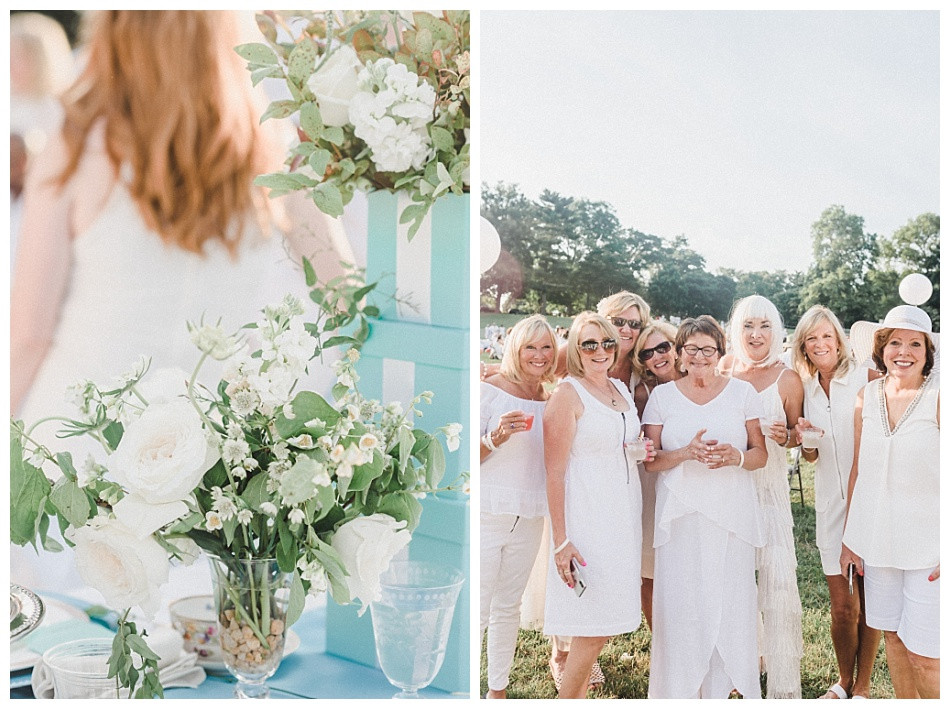Laura of Lauxmont Floral Designs and Group Shot. Fete en Blanc Lancaster 2019 at Longs Park by Angela Weiler Photography.