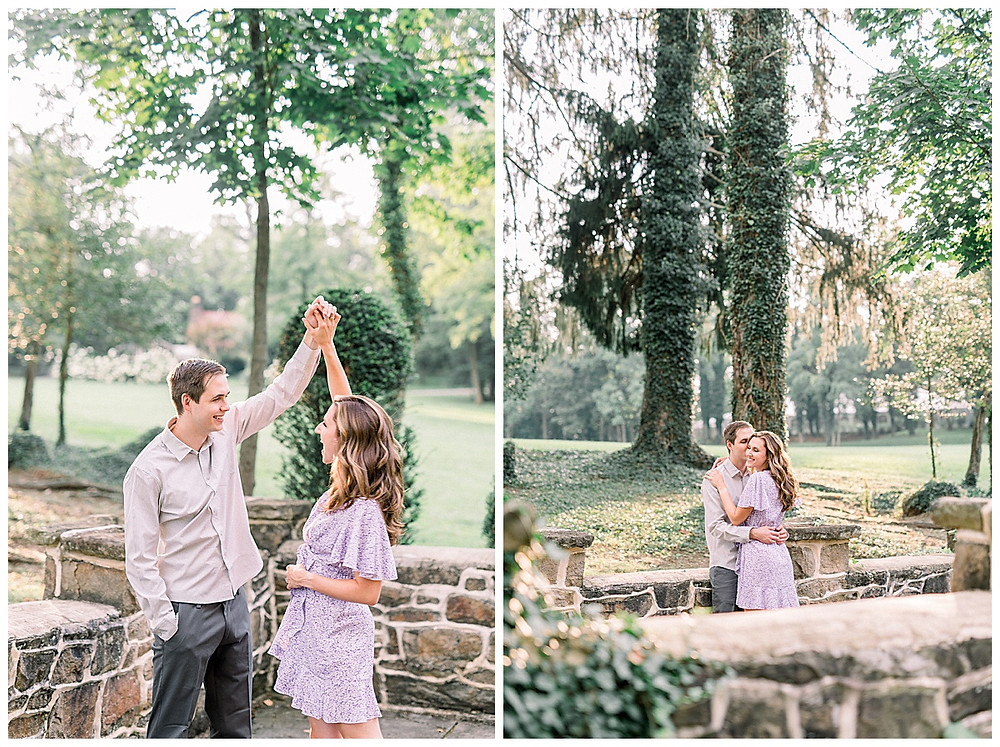 An engaged couple kissing and dancing through Historic Shady Lane