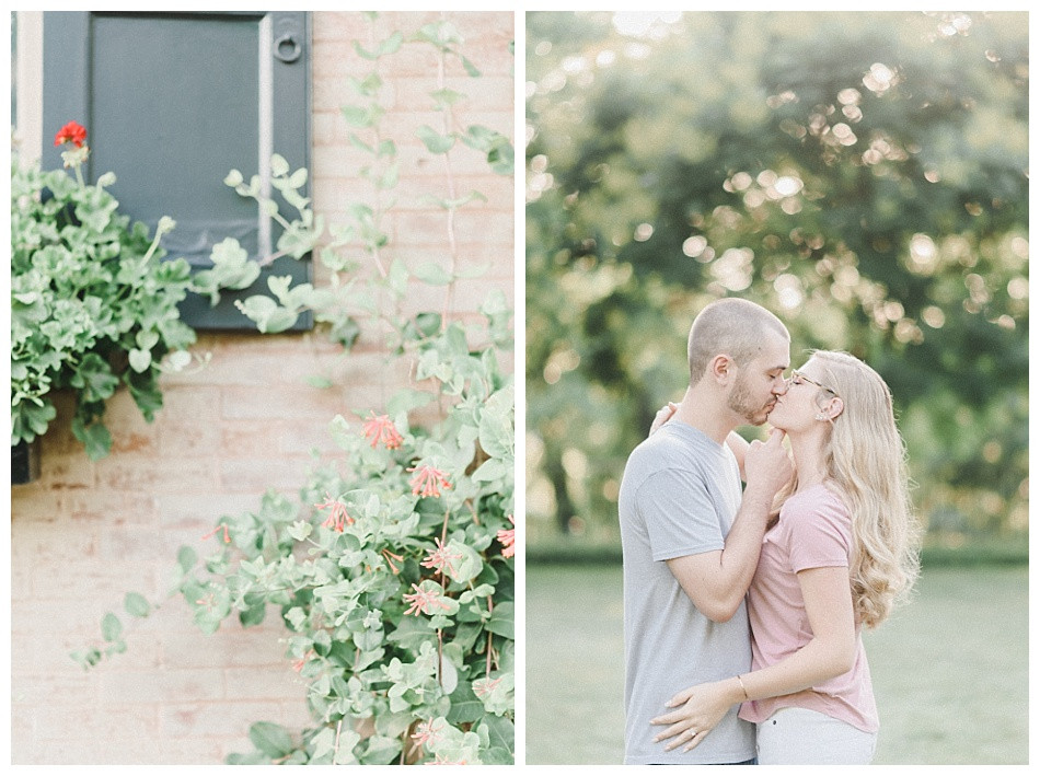 Ivy, Couple Kissing, gray shirt pink, Summer Engagement Session at Conestoga House and Gardens captured by Angela Weiler Photography - Fine Art Wedding and Lifestyle Photographer from Lancaster Pennsylvania.