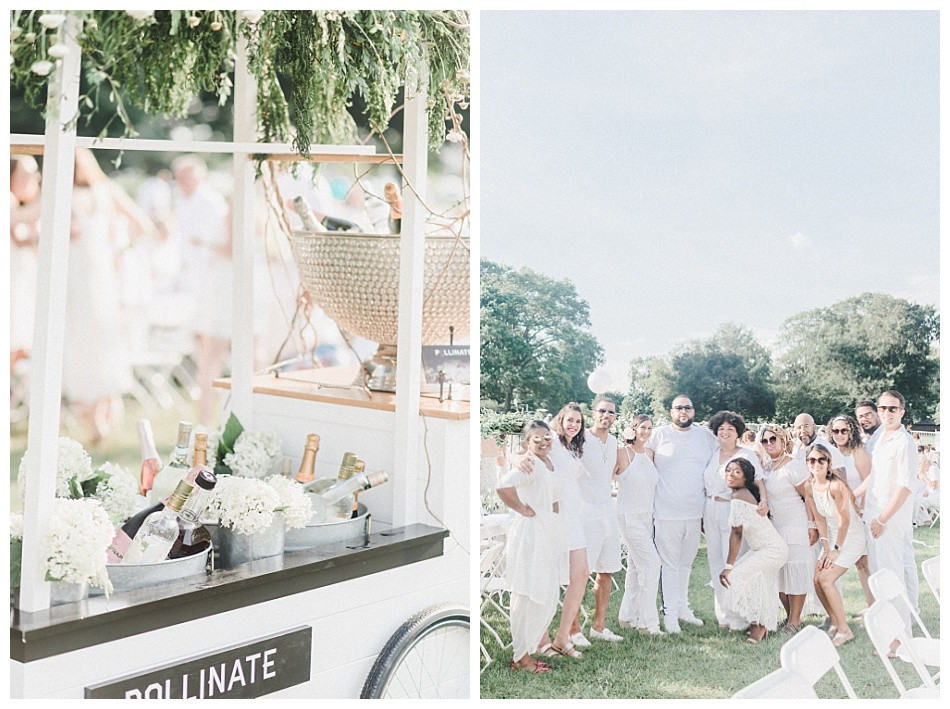 Pollinate Floral Designs' Flower Cart and Group shot. Fete en Blanc Lancaster 2019 at Longs Park by Angela Weiler Photography.