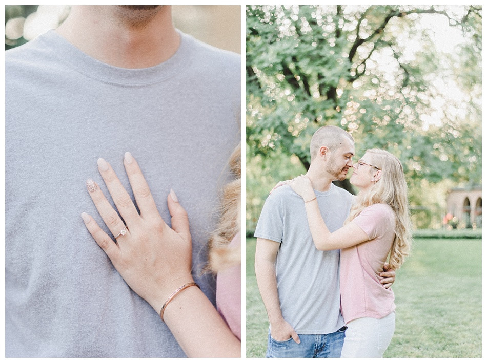 Engagement Ring, Couple Nose to Nose, gray shirt pink, Summer Engagement Session at Conestoga House and Gardens captured by Angela Weiler Photography - Fine Art Wedding and Lifestyle Photographer from Lancaster Pennsylvania.