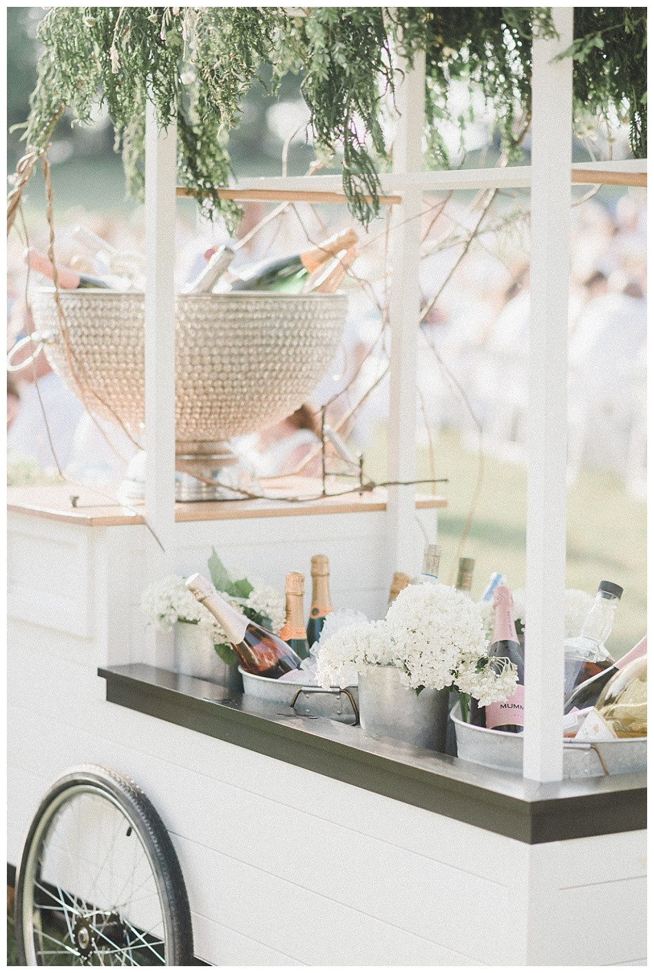 Pollinate Floral Cart, Champagne, and Wine Buckets. Fete en Blanc (Party in White) Lancaster 2019 at Longs Park by Angela Weiler Photography - Fine Art Wedding and Lifestyle Photographer in Lancaster Pennsylvania.