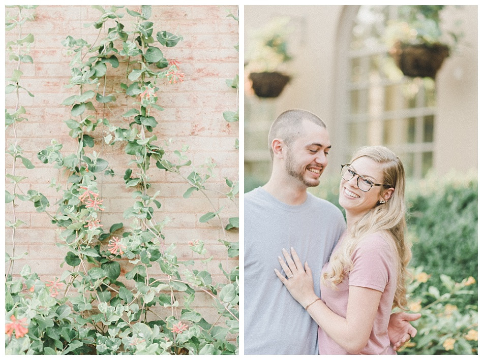 Ivy, Couple laughing at each other, gray shirt pink, Summer Engagement Session at Conestoga House and Gardens captured by Angela Weiler Photography - Fine Art Wedding and Lifestyle Photographer from Lancaster Pennsylvania.