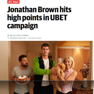 Ubet Commercial with Jonathan Brown. Herald Sun Article