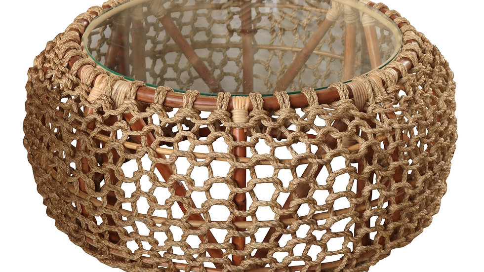 Authentic Handcrafted Woven Round Rope Coffee Side Table