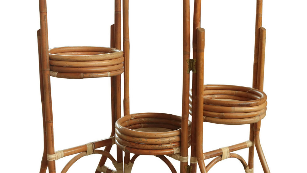 Authentic Handmade Rattan Flower Pot Holder Stand Expandable Indoor / Outdoor