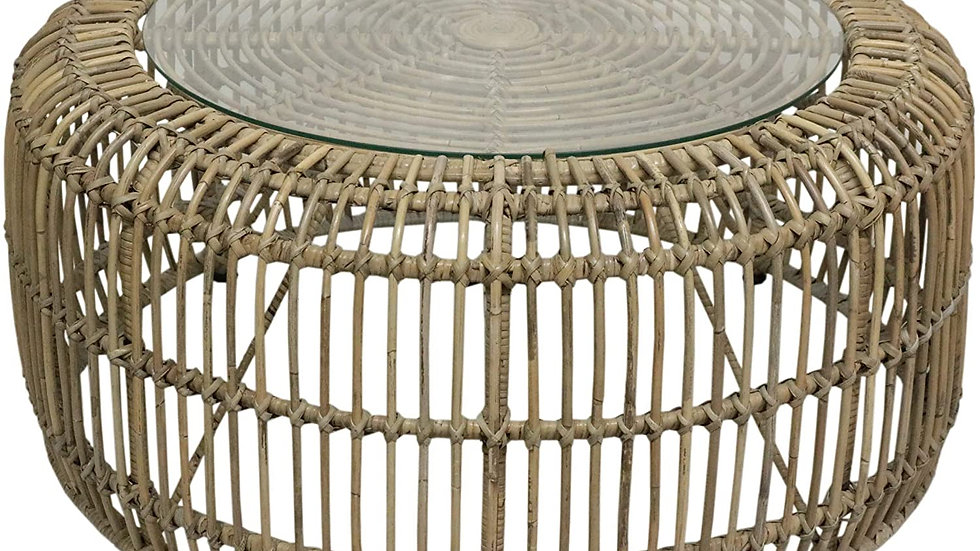 Round Open Weave Coffee table with Glass Top