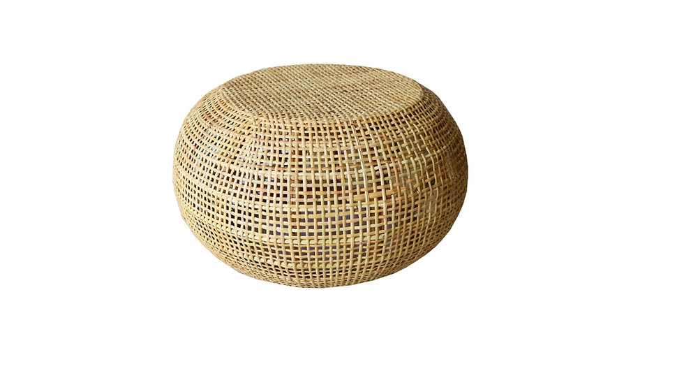 Authentic Handmade Woven Rattan Round Cube Coffee Side Table