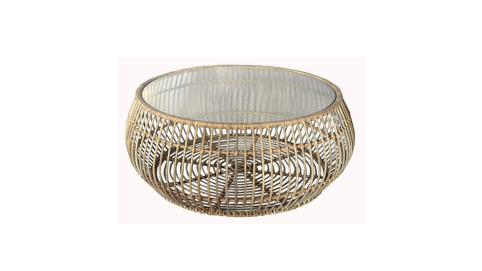 Authentic Handcrafted Woven Round Coffee Side Table - with glass protective top