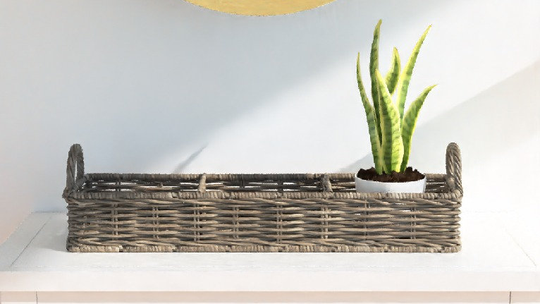 Handcrafted Rattan Storage Tray Basket with 3 Compartments