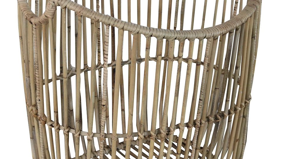 Authentic Handcrafted Woven Rattan Storage Basket Newspapers, Ma