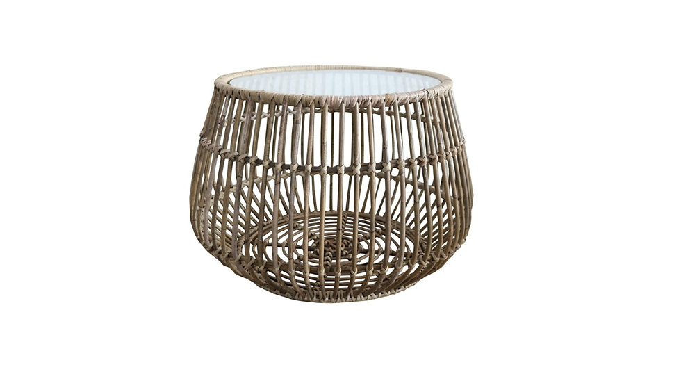 Handmade Woven Round Rattan Coffee Side Table