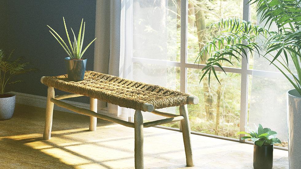 Authentic Handmade Decorative Rattan Bench for Indoor / Outdoors