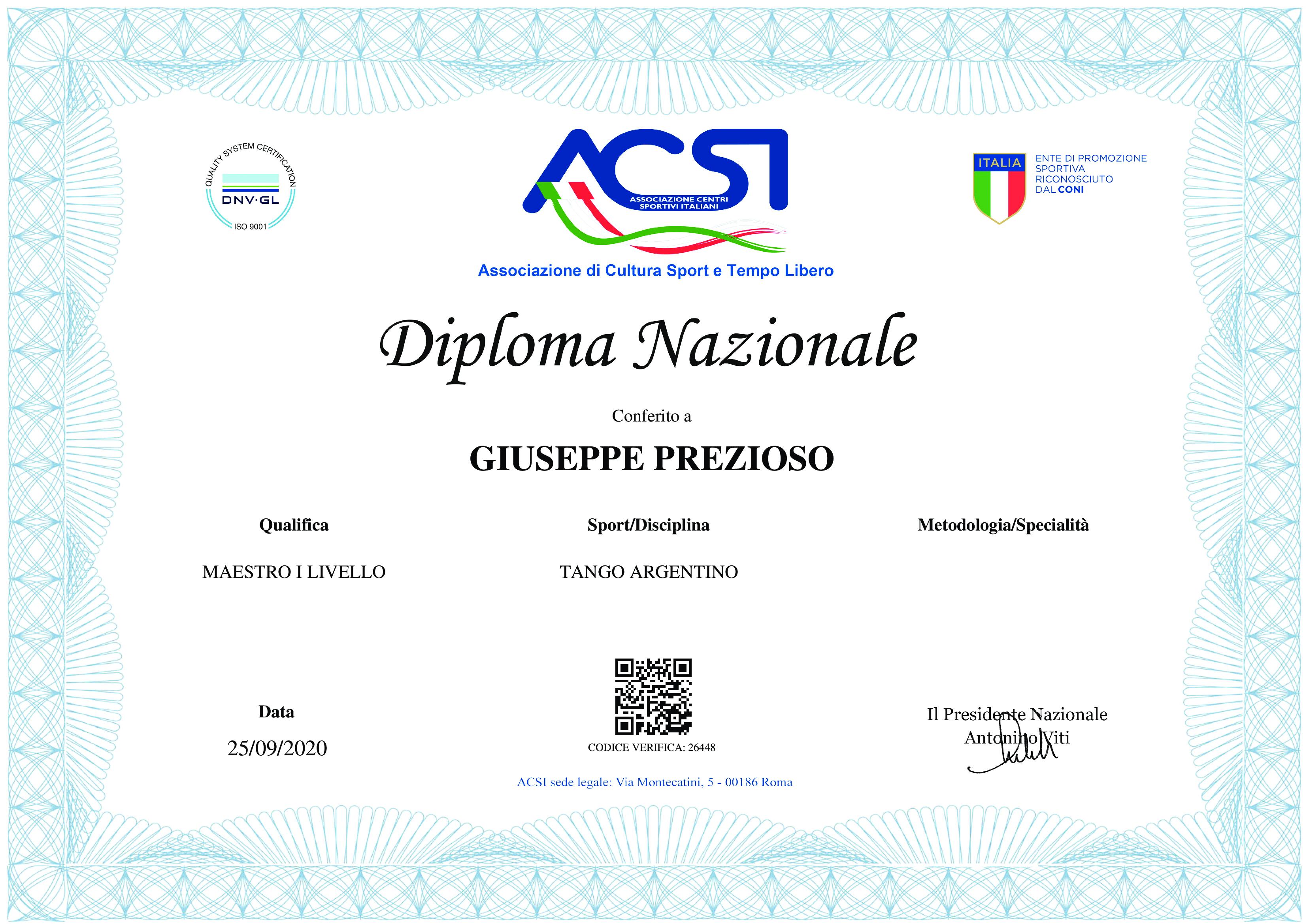 Diploma NAzionale Giuseppe Prezioso