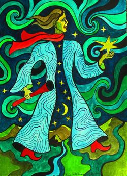 Stargazer, watercolors on paper, 38,5 x