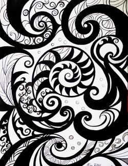 Spirals, ink on paper, 38 x 30 cm  2019