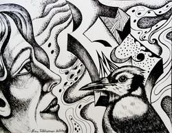 Bird Song, ink on paper, 2019, 30 x 23 c