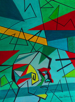 Journey to Geometry, tempera , watercolo
