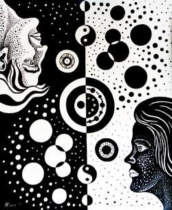 Yin and Yang, ink drawing, 2020, 43 cm x