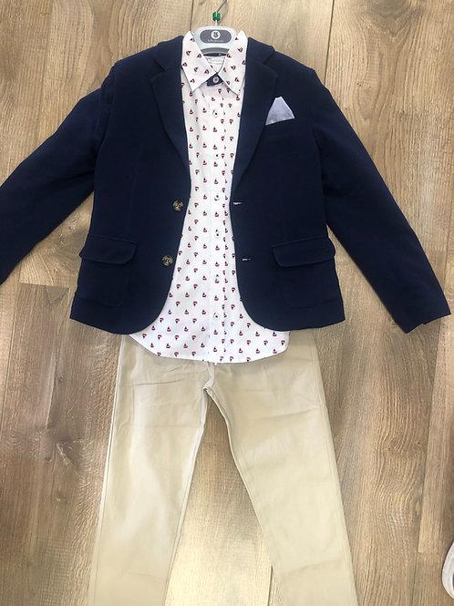 Tutto Piccolo white shirt, navy blazer & beige pants