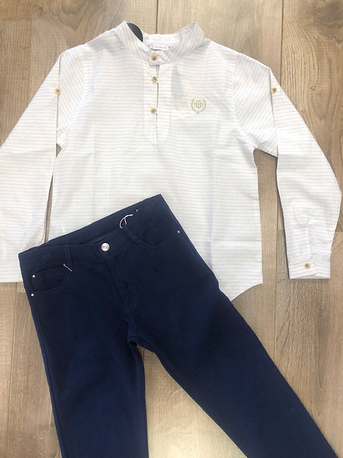 Tutto Piccolo beige shirt & navy pants