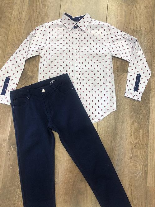 Tutto Piccolo White shirt & navy pants