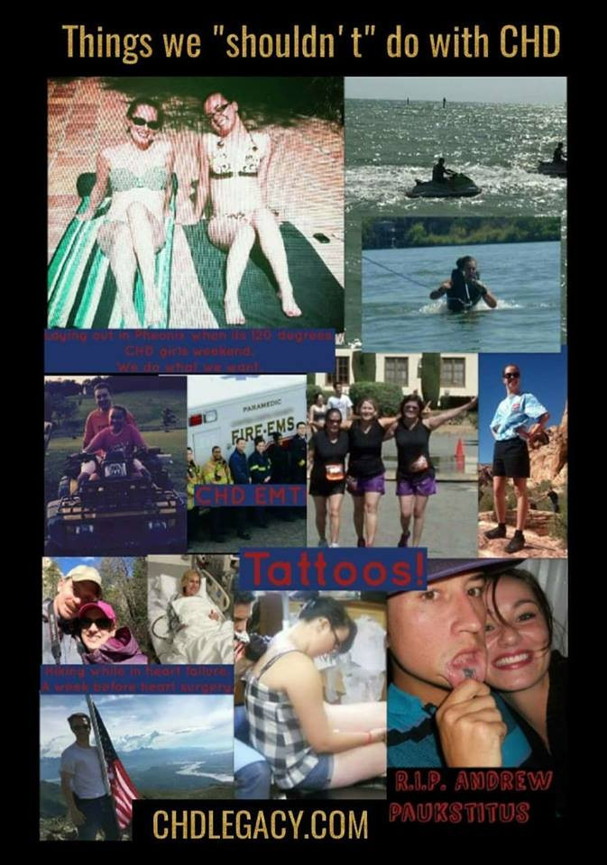 Stephanie Romer Andrew Paukstitus CHD survivors HLHS Tattoos Waterskiing Do what you want CHDLEGACY