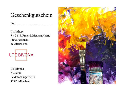 Geschenkgutschein Workshop 5 x 2 Std. Freies Malen 2 Pers.