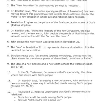 Lessons Learned/Plan Revelation