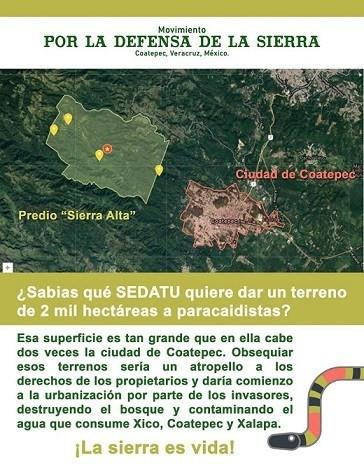 Denuncian que SEDATU de gobierno de AMLO entrega 2 mil hectáreas de la Sierra de Coatepec a paracaid